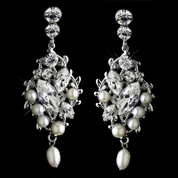 Antique Rhodium Silver Clear Rhinestone & Freshwater Pearl Accent Earrings 9865