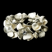 Ivory Blush & Rhinestone Flower Bridal Stretch Bracelet 8736