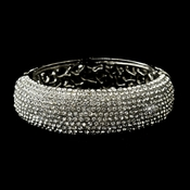 Antique Silver Clear Crystal Bridal Bangle Cuff Bridal Bracelet 8752