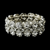 Antique Silver Clear Crystal Stretch Cuff Bridal Bracelet 9236