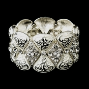 Silver White Clear Crystal Rhinestone Bridal Stretch Bracelet 9240