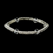 Silver Clear Austrian Crystal Stretch Bridal Bracelet 9246