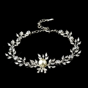 Silver Clear Marquise Round CZ Crystal & Ivory Glass Pearl Bridal Clasp Bracelet 9955