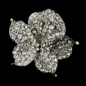 * Antique Silver Clear Rhinestone Orchid Flower Bridal Brooch 172