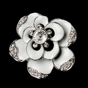 * Antique Silver White Enamel Rhinestone Flower Bridal Brooch 174