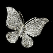 * Antique Silver Clear Rhinestone Butterfly Bridal Brooch 183