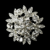 Antique Silver Clear Rhinestone Flower Bridal Brooch 185
