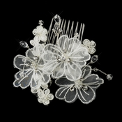 Silver Crystal Organza Flower Bridal Hair Comb 950