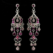 Antique Silver Pink AB Crystal Chandelier Bridal Earrings 1028