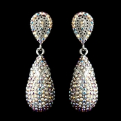Silver AB Swarovski Crystal Dangle Bridal Earrings 1264