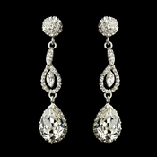Silver Clear Crystal Pave Ball Dangle Tear Drop Bridal Earrings 1453