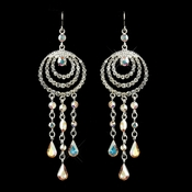 * Silver Clear AB Austrian Crystal Chandelier Bridal Earrings 24496