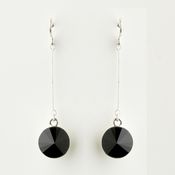 Silver Black Crystal Drop Bridal Earrings 25729