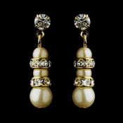 Gold Ivory Pearl Rhinestone Dangle Earrings 8366