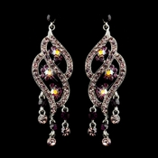 Silver Amethyst & AB Rhinestone Dangle Bridal Earrings 8657