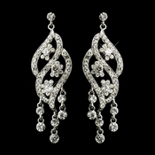 Silver Clear Rhinestone Dangle Bridal Earrings 8657