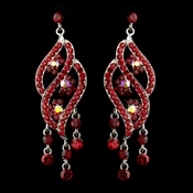 Silver Red & AB Rhinestone Dangle Bridal Earrings 8657
