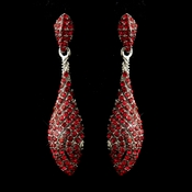 Antique Silver Red Pave Rhinestone Dangle Bridal Earrings 8659
