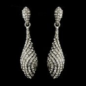 Silver Clear Pave Rhinestone Dangle Bridal Earrings 8659