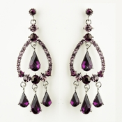 Silver Amethyst Crystal & Rhinestone Chandelier Bridal Earrings 8686