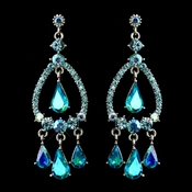 Silver Turquoise AB Crystal & Rhinestone Chandelier Bridal Earrings 8686