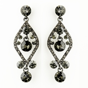 Hematite Smoked Crystal & Rhinestone Post Dangle Bridal Earrings 8705