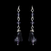 Silver Amethyst Crystal Tear Drop Dangle Bridal Earrings 8737