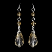Silver Champagne Crystal Tear Drop Dangle Bridal Earrings 8737