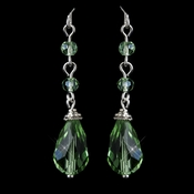 Silver Green Crystal Tear Drop Dangle Bridal Earrings 8737