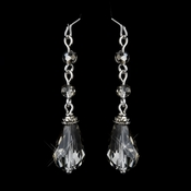 Silver Smoked Crystal Tear Drop Dangle Bridal Earrings 8737