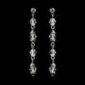 Antique Silver Clear Crystal Drop Bridal Earrings 8738
