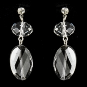 Silver Clear Oval Crystal Bridal Drop Bridal Earrings 8739
