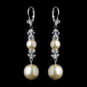 Silver Ivory Pearl & Swarovski Crystal Bead Long Drop Bridal Earrings 8740