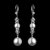 Silver White Pearl & Swarovski Crystal Bead Long Drop Bridal Earrings 8740