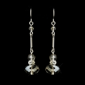 Silver Clear Crystal Drop Bridal Earrings 8741
