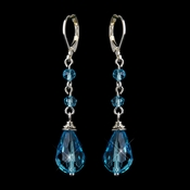 Silver Aqua Crystal Bead Drop Bridal Earrings 8745