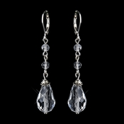 Silver Clear Crystal Bead Drop Bridal Earrings 8745