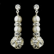 Pearl & Silver White Rondelle Drop Bridal Earrings 8751