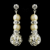 Pearl & Silver Ivory Rondelle Drop Bridal Earrings 8751