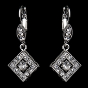 Antique Silver Clear Austrian Crystal Drop Bridal Earrings 9245