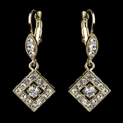 Gold Clear Austrian Crystal Drop Bridal Earrings 9245