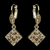 Gold Topaz Austrian Crystal Drop Bridal Earrings 9245**Discontinued**