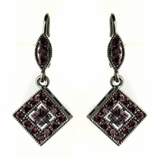 Hematite Amethyst Austrian Crystal Drop Bridal Earrings 9245