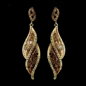 Gold Brown Rhinestone Dangle Bridal Earrings 9252