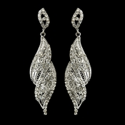 Silver Clear Crystal Rhinestone Dangle Bridal Earrings 9252