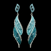 Silver Turquoise Rhinestone Dangle Bridal Earrings 9252***Discontinued***