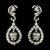 Antique Silver Clear Kate Middleton Acorn Crystal Bridal Earrings 9949