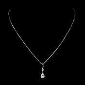Antique Silver Clear CZ Crystal Drop Pendant Bridal Necklace 5090***Discontinued***
