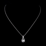 Silver Clear CZ Crystal Pendant Bridal Necklace 5834