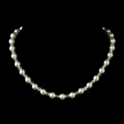 Silver Ivory Pearl & Clear Crystal Bead Bridal Necklace 8150